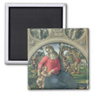 Madonna and Child, 1490-95 (oil on panel) Square Magnet