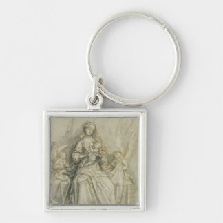 Madonna and Child 3 Silver-Colored Square Key Ring