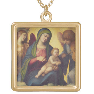 Madonna and Child and child in Glory, c.1520 (oil Square Pendant Necklace