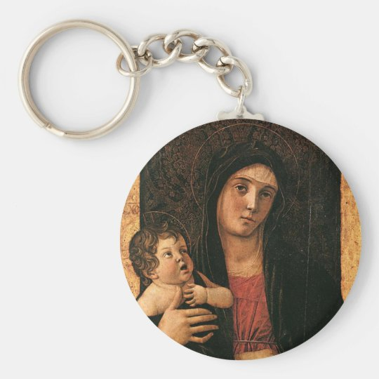 Madonna and Child Basic Round Button Key Ring