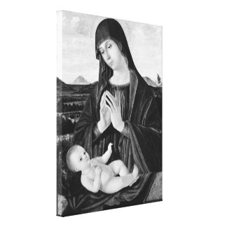 Madonna and Child Black and White Oil Painting Canvas Print