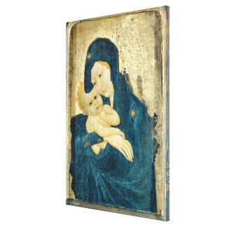 Madonna and Child, Bourgogne School (oil on panel) Canvas Print
