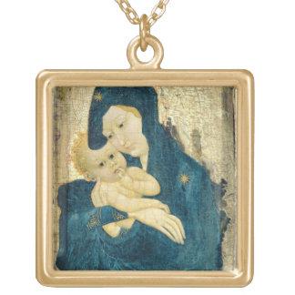 Madonna and Child, Bourgogne School (oil on panel) Pendants