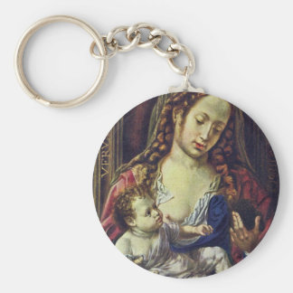 Madonna And Child By Gossaert Jan (Best Quality) Basic Round Button Key Ring