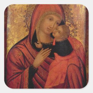 Madonna and Child, c.1650 (panel) Square Sticker