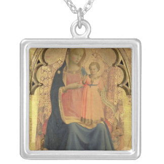 Madonna and Child, central panel of a triptych Silver Plated Necklace