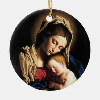 Madonna and child christmas ornament