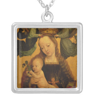 Madonna and Child Crowned by Two Angels, c.1520 Silver Plated Necklace