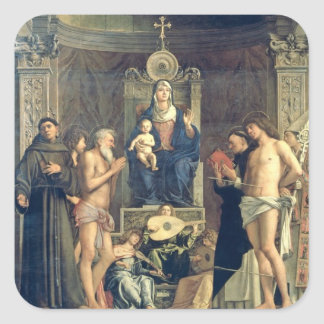 Madonna and Child Enthroned between SS. Francis, J Square Sticker