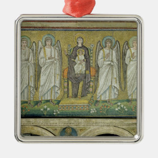Madonna and Child enthroned by angels Silver-Colored Square Decoration