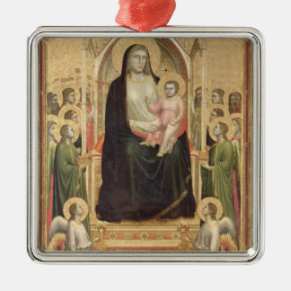 Madonna and Child Enthroned, c.1300-03 (PRE-restor Silver-Colored Square Decoration