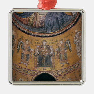 Madonna and Child Enthroned Silver-Colored Square Decoration