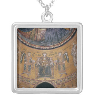 Madonna and Child Enthroned Silver Plated Necklace