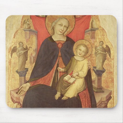 Madonna and Child Enthroned with Donor Vulciano Mouse Pads