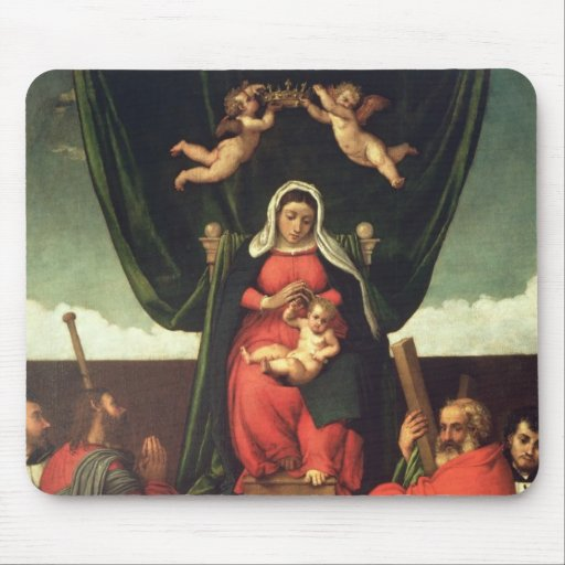 Madonna and Child Enthroned with Four Saints, 1546 Mousepads