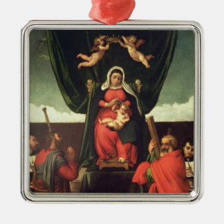 Madonna and Child Enthroned with Four Saints, 1546 Silver-Colored Square Decoration