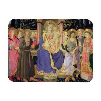 Madonna and Child enthroned with saints (altarpiec Rectangular Magnet