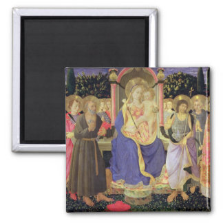 Madonna and Child enthroned with saints (altarpiec Square Magnet