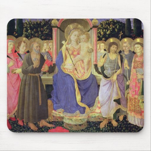 Madonna and Child enthroned with saints (altarpiec Mouse Pad