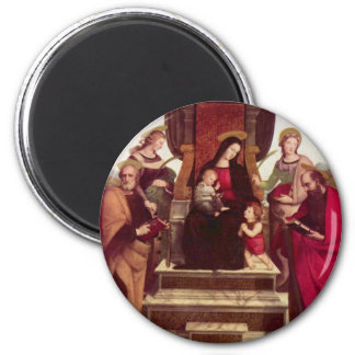 Madonna and Child Enthroned with Saints by Raphael 6 Cm Round Magnet