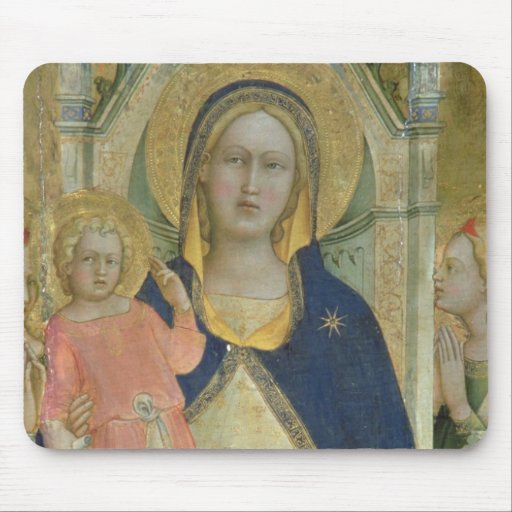 Madonna and Child enthroned with Saints, detail sh Mousepads