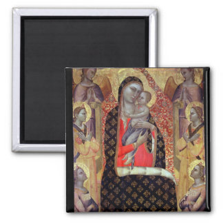 Madonna and child enthroned with six angels (panel square magnet