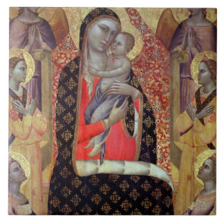 Madonna and child enthroned with six angels (panel tile