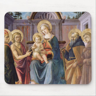 Madonna and Child Enthroned with  SS Mouse Mat