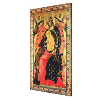 Madonna and Child Enthroned with Two Devout People Canvas Print