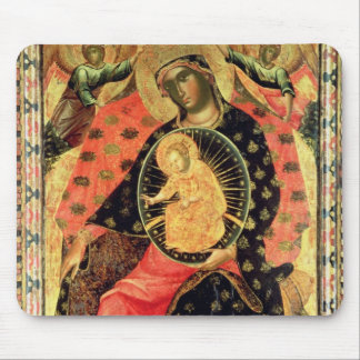 Madonna and Child Enthroned with Two Devout People Mouse Pad