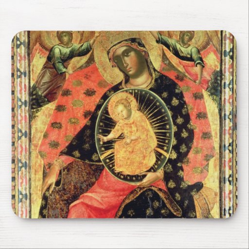 Madonna and Child Enthroned with Two Devout People Mousepads