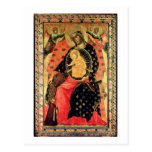 Madonna and Child Enthroned with Two Devout People Postcards