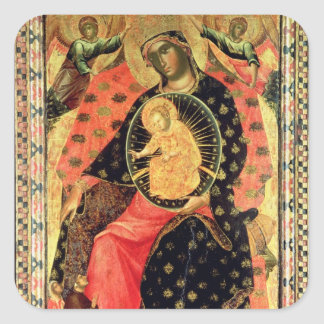 Madonna and Child Enthroned with Two Devout People Square Sticker