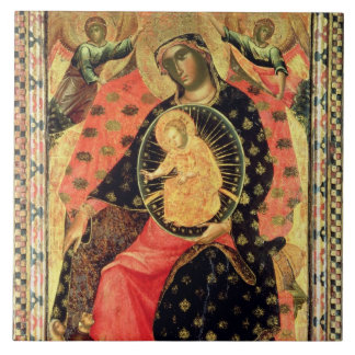 Madonna and Child Enthroned with Two Devout People Tile