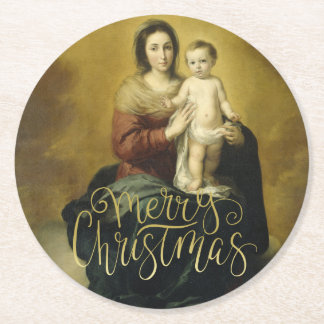 Madonna and Child, Fine Art Christmas Round Paper Coaster