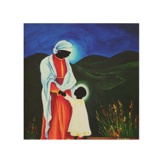 Madonna and child - First steps 2008 Wood Prints