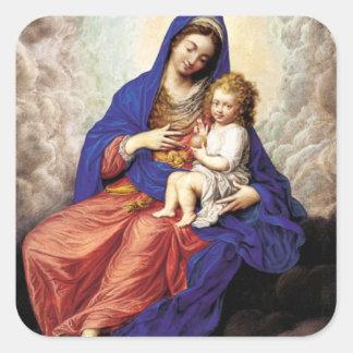Madonna and Child in Glory Square Sticker
