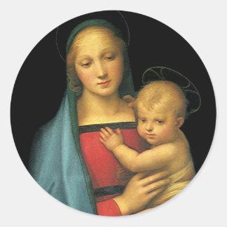 Madonna And Child, Madonna del Granduca by Raphael Classic Round Sticker