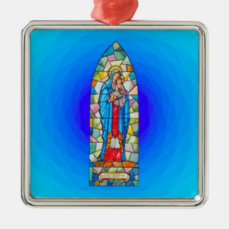 Madonna and Child Nativity Stained Glass Style Christmas Ornament