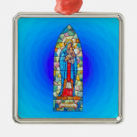 Madonna and Child Nativity Stained Glass Style Ornament