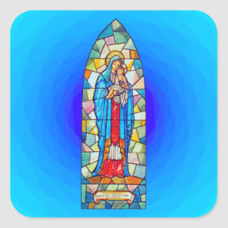 Madonna and Child Nativity Stained Glass Style Square Sticker