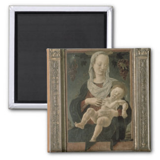 Madonna and Child (oil on panel) Square Magnet
