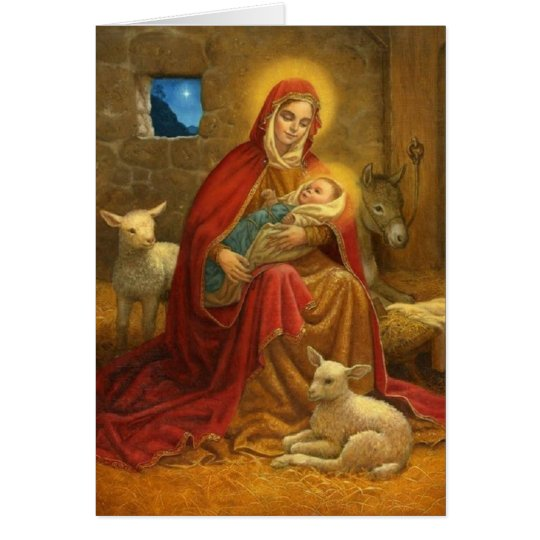 Madonna and Child Religious Christmas Card