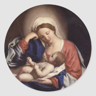 Madonna and Child Round Sticker