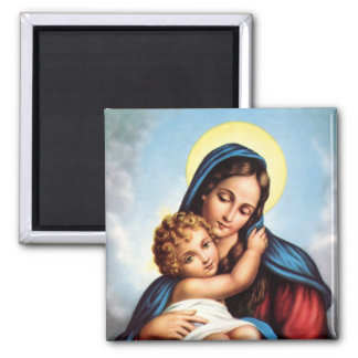 Madonna and Child Square Magnet