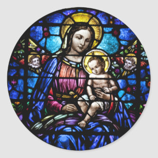 Madonna and Child Stained Glass Look Classic Round Sticker
