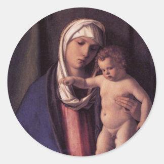 Madonna and Child Round Stickers