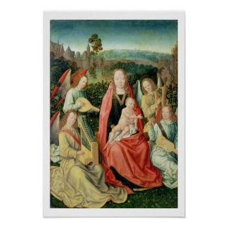 Madonna and Child surrounded by Angels Posters