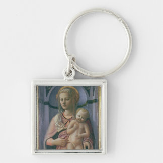 Madonna and Child (tempera on panel) Silver-Colored Square Key Ring