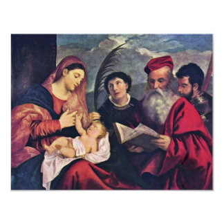 Madonna And Child To St. Stephen St. Jerome 11 Cm X 14 Cm Invitation Card